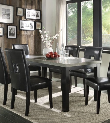 Beloit Contemporary Black Wood Concrete Table HE-5188-66