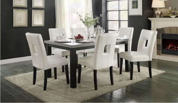 Archstone White Black Wood Vinyl 5pc Dining Room Set w/White Chair HE-5188-DR-S1