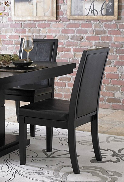 2 Cicero Casual Black Wood Vinyl Side Chairs HE-5235S