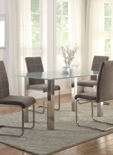 Nerissa Casual Neutral Grey Metal Crackle Glass Top Dining Table HE-5249