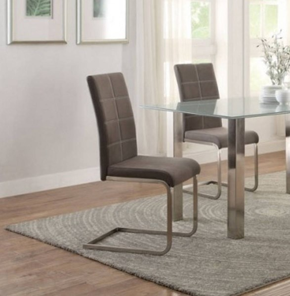 4 Nerissa Casual Neutral Grey Fabric Metal Side Chairs HE-5249S