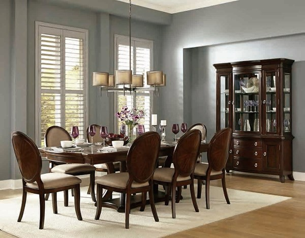 Delavan Classic Rich Brown Cherry Wood 7pc Dining Room Set HE-5251-DR-S2