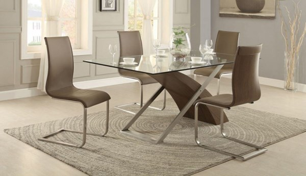 Odeon Neutral Brown Wood Vinyl Glass Metal 5pc Dining Room Set HE-5261-DR-S