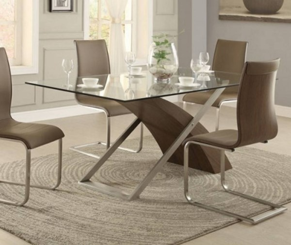 Odeon Contemporary Neutral Brown Wood Vinyl Glass Metal Dining Table HE-5261