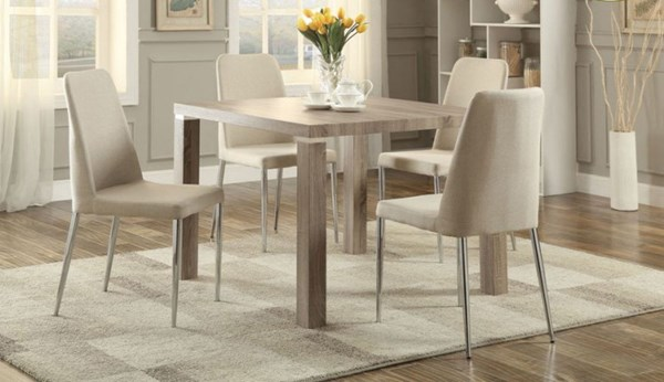 Luzerne Contemporary Chrome Fabric Metal 5pc Dining Room Set HE-5262-DR-S1