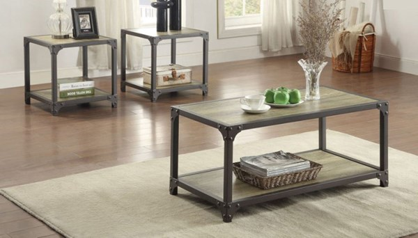 Rumi Modern Wood Metal 3-Piece Occasional Tables HE-5264-31
