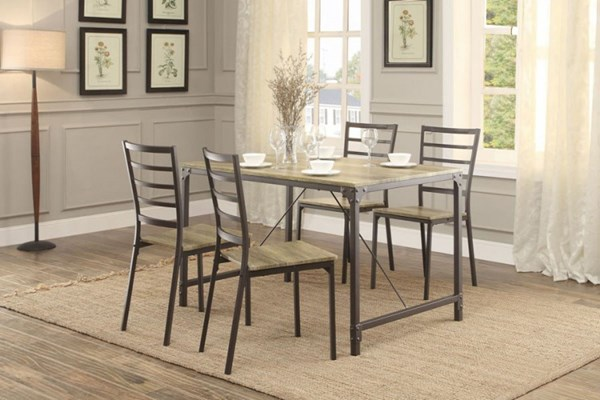 Rumi Modern Light Burnish Wood Metal 5pc Pack Dinette Set HE-5264