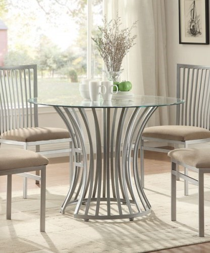 Sodus Contemporary Glass Metal Round Dining Table HE-5265-42