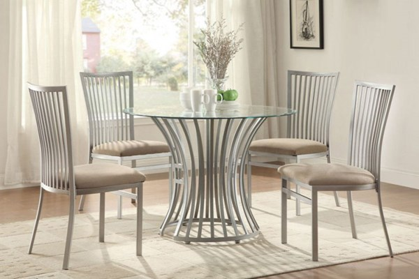 Sodus Contemporary Glass Metal Round Dining Room Set HE-5265-42-DR