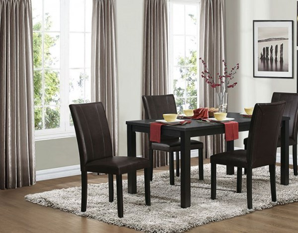 Toulon Casual Black Wood Dining Room Set HE-5269BK-DR