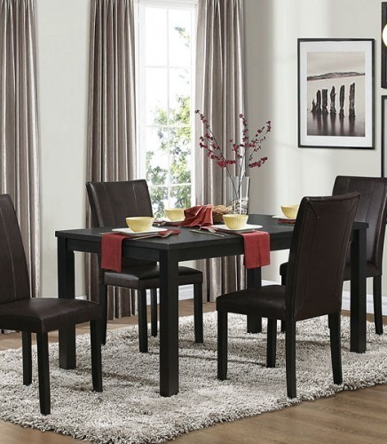 Toulon Casual Black Wood Solid Top Dining Table HE-5269BK