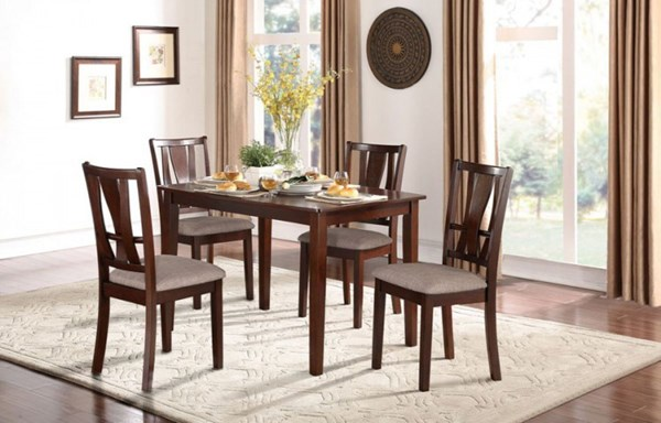 Rushville Contemporary Cherry Wood Fabric 5pc Pack Dinette Set HE-5272