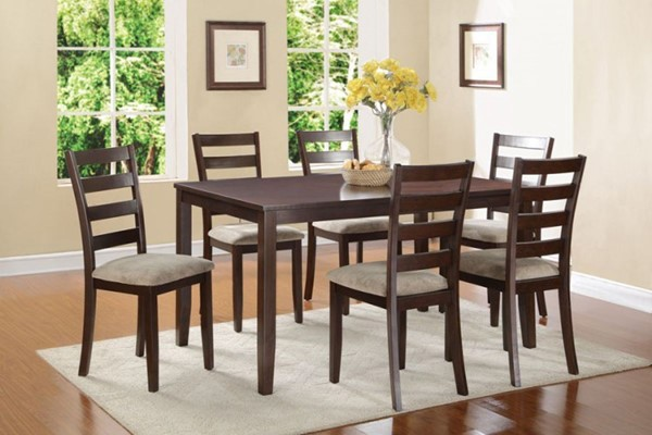 Galion Cherry Wood Fabric 7pc Pack Dinette Set HE-5273