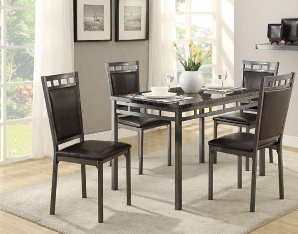Home Elegance Olney Dark Brown 5pc Pack Dinette Set HE-5275