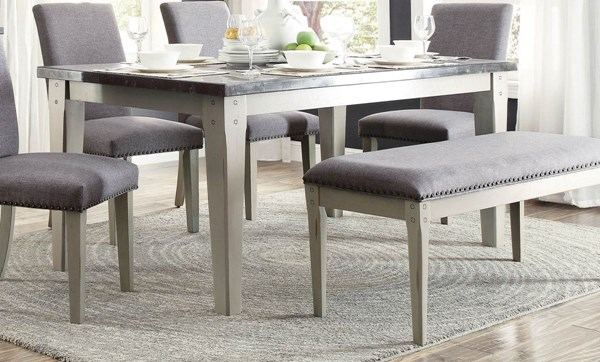 Grey Wood Dining Room Table: Mendel Transitional Grey Neutral Wood Bluestone Marble