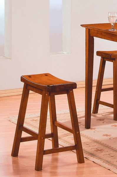 2 Saddleback Oak Wooden Seat Armless And Backless Stools w/Foot Rest HE-5302A-29