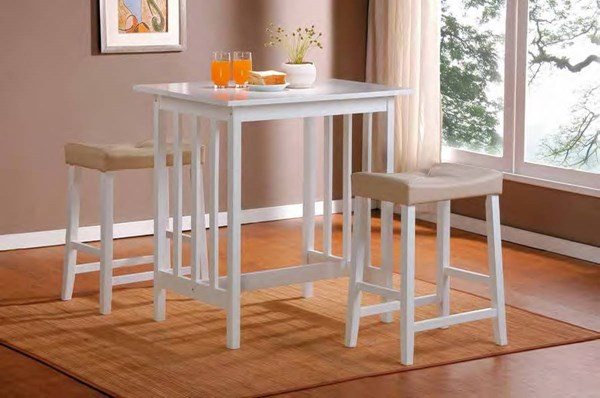 Scottsdale White Wood Plush 3pc Pack Counter Height Set HE-5310W