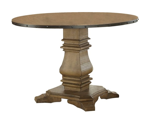 Home Elegance Veltry Weathered 45 Inch Round Pedestal Table HE-5328-45RD