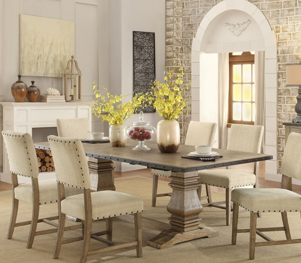 Home Elegance Veltry Weathered Trestle Dining Table HE-5328-96