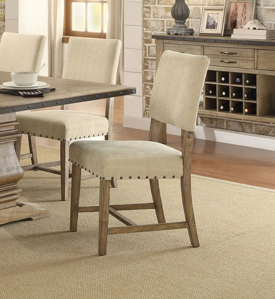 2 Home Elegance Veltry Weathered Neutral Side Chairs HE-5328S