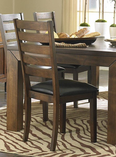 2 Eagleville Warm Brown Cherry Wood Vinyl Side Chairs HE-5346S