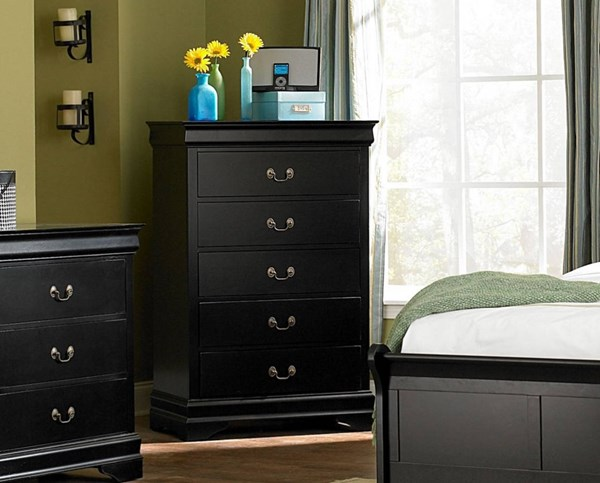 Marianne Casual Black Wood Handles Drawer Chest HE-539BK-9