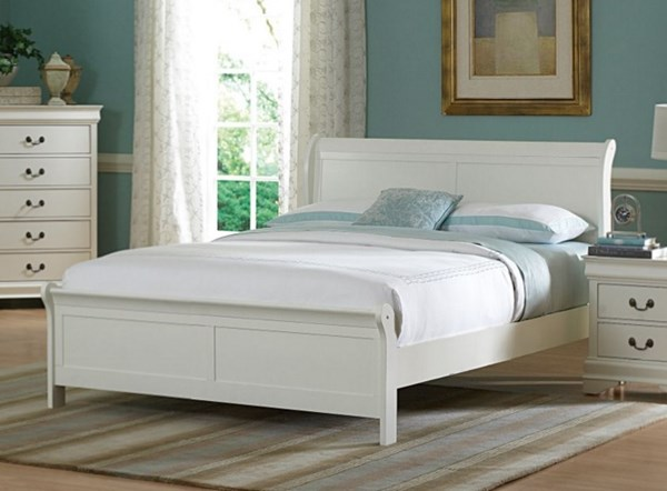 Marianne Casual White Wood Twin Sleigh Bed HE-539TW-1