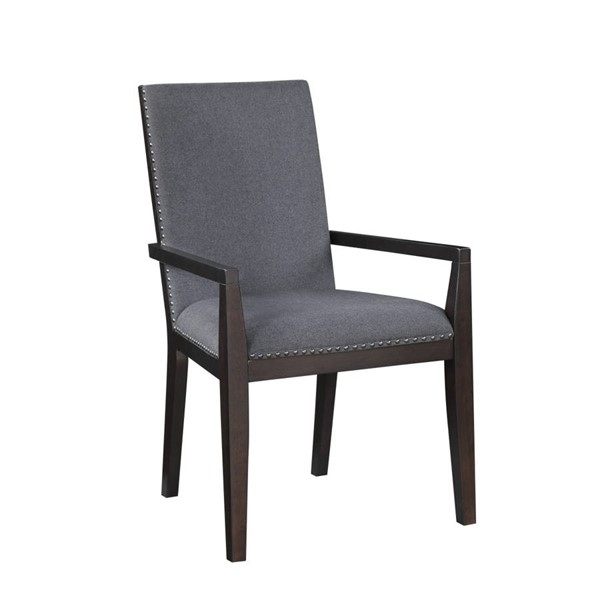 2 Home Elegance Larchmont Charcoal Arm Chairs HE-5424A