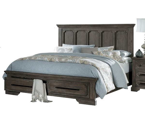 Home Elegance Toulon Wire Brushed Queen Footboard Storage Bed HE-5438-1