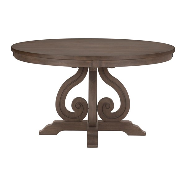 Home Elegance Toulon Dark Pewter Round Pedestal Table HE-5438-54