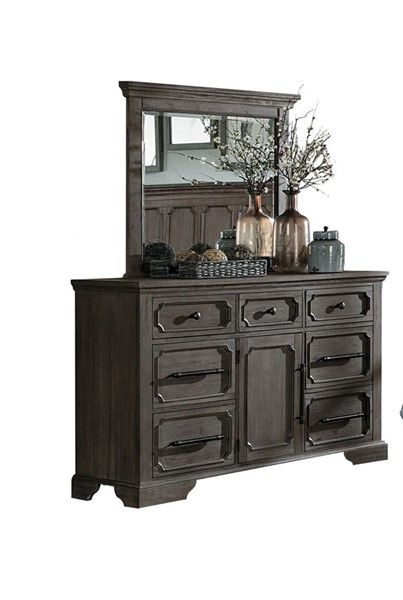 Home Elegance Toulon Wire Brushed Dresser and Mirror HE-5438-DRMR