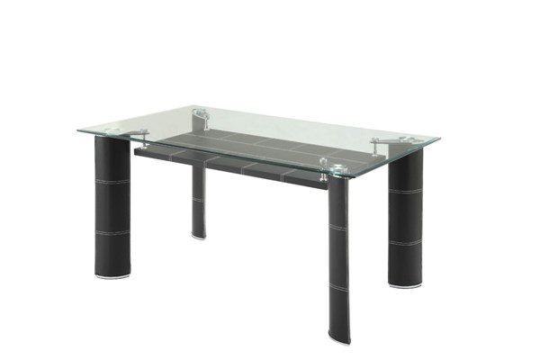 Wilner Contemporary Black Metal Glass Dining Table HE-5445-60