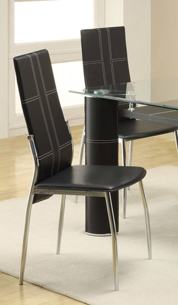 2 Wilner Contemporary Black Metal PVC Side Chairs HE-5445BKS