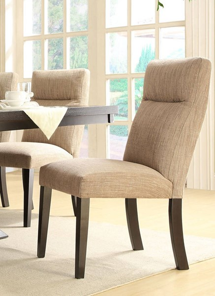 2 Avery Rich Espresso Wood Fabric Side Chairs HE-5448S