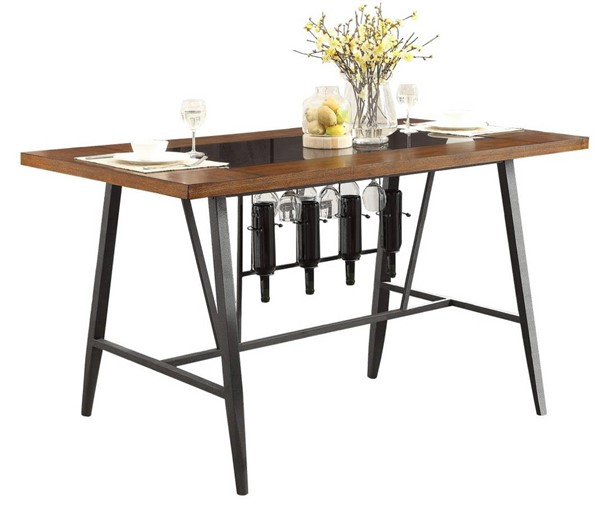 Home Elegance Selbyville Cherry Gunmetal Counter Height Table HE-5489-36