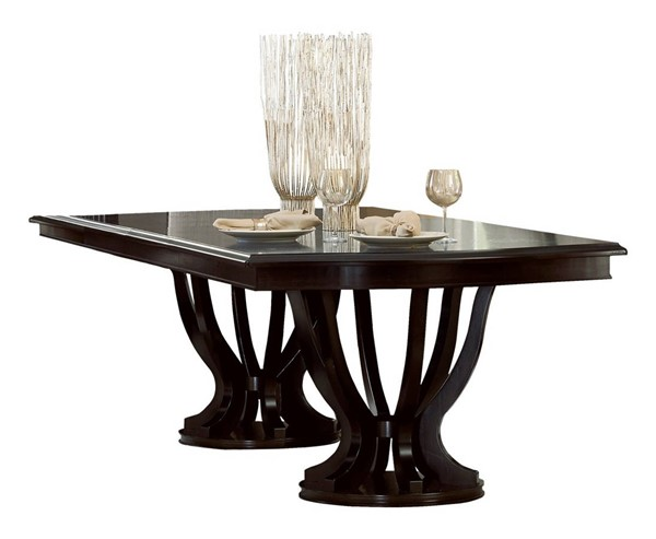 Home Elegance Savion Espresso Double Pedestal Table HE-5494-106