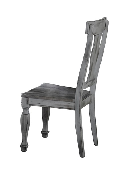 2 Home Elegance Fulbright Weathered Gray Side Chairs HE-5520S