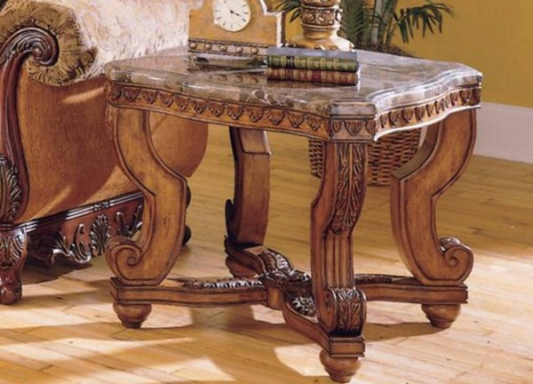 Tarantula Old World Brown Cherry Wood Marble Top End Table HE-5543-04