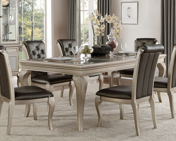 Home Elegance Crawford Silver Dining Table HE-5546-84