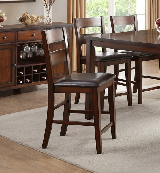 2 Home Elegance Mantello Cherry Brown Counter Height Chairs HE-5547-24