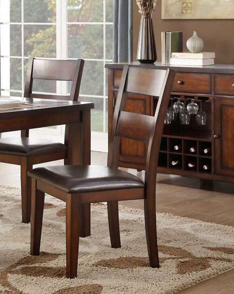2 Home Elegance Mantello Cherry Brown Side Chairs HE-5547S