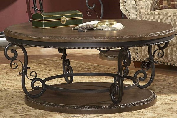 Harman Heights Traditional Warm Brown Wood Metal Round Cocktail Table HE-5552-01