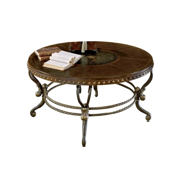 Home Elegance Jenkins Warm Tobacco Round Cocktail Table HE-5553-01