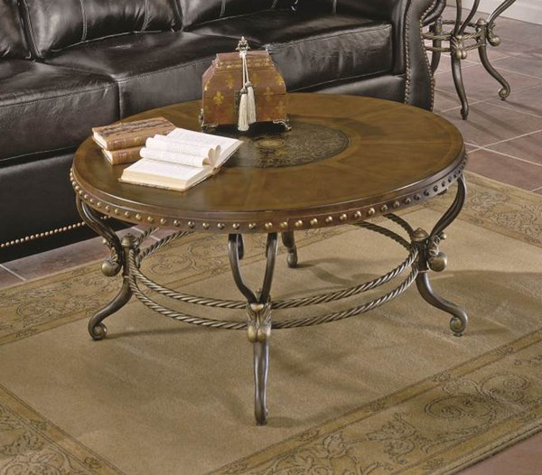 Jenkins Warm Tobacco Wood Metal Round Cocktail Table HE-5553-01