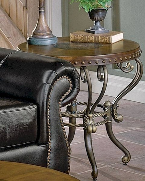 Jenkins Warm Tobacco Wood Metal Round End Table HE-5553-04