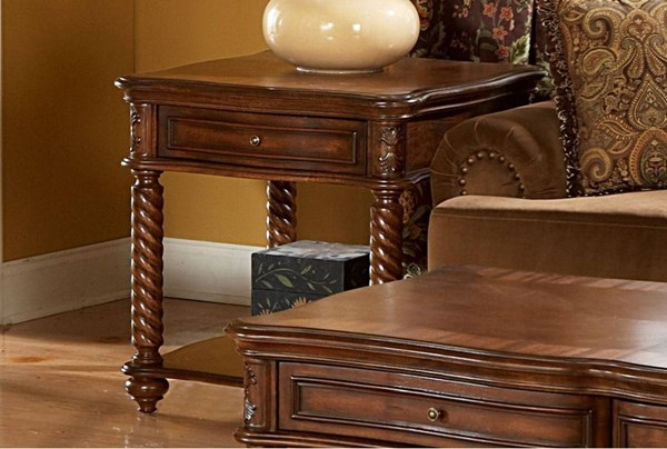 Trammel Brown Mahogany Wood Functional Drawers End Table HE-5554-04