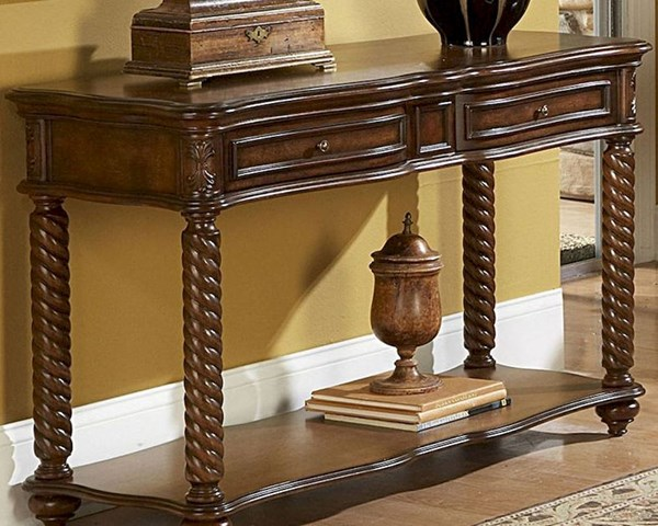Trammel Brown Mahogany Wood Functional Drawers Sofa Table HE-5554-05