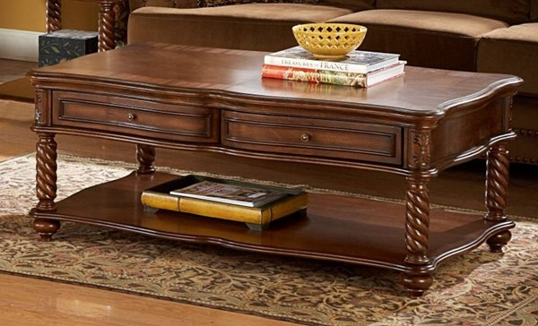 Trammel Brown Mahogany Wood Funstional Drawers Cocktail Table HE-5554-30