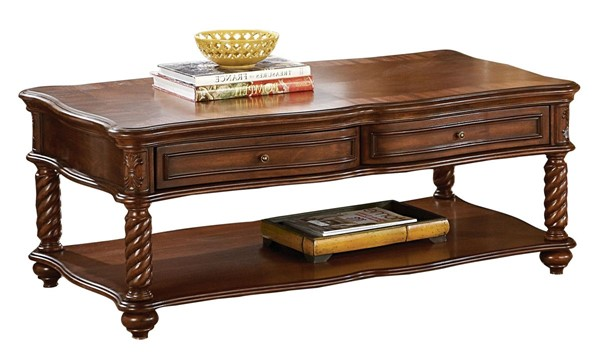 Home Elegance Trammel Cocktail Table with Functional Drawers HE-5554-30