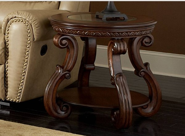 Cavendish Traditional Warm Cherry Wood Glass End Table HE-5556-04